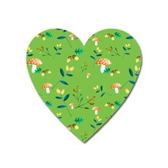 Mushrooms Flower Leaf Tulip Heart Magnet by Mariart