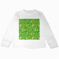 Mushrooms Flower Leaf Tulip Kids Long Sleeve T Shirts by Mariart
