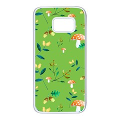 Mushrooms Flower Leaf Tulip Samsung Galaxy S7 White Seamless Case by Mariart