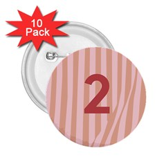 Number 2 Line Vertical Red Pink Wave Chevron 2 25  Buttons (10 Pack)  by Mariart