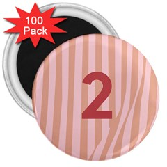 Number 2 Line Vertical Red Pink Wave Chevron 3  Magnets (100 Pack) by Mariart