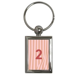 Number 2 Line Vertical Red Pink Wave Chevron Key Chains (rectangle)  by Mariart