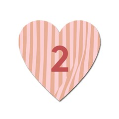 Number 2 Line Vertical Red Pink Wave Chevron Heart Magnet by Mariart