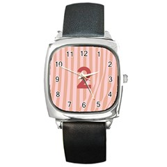 Number 2 Line Vertical Red Pink Wave Chevron Square Metal Watch by Mariart