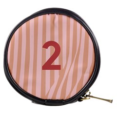 Number 2 Line Vertical Red Pink Wave Chevron Mini Makeup Bags by Mariart