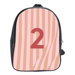 Number 2 Line Vertical Red Pink Wave Chevron School Bags(large)