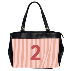 Number 2 Line Vertical Red Pink Wave Chevron Office Handbags (2 Sides)  by Mariart