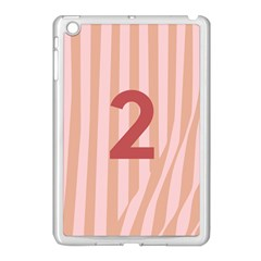 Number 2 Line Vertical Red Pink Wave Chevron Apple Ipad Mini Case (white) by Mariart