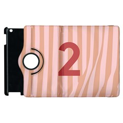 Number 2 Line Vertical Red Pink Wave Chevron Apple Ipad 3/4 Flip 360 Case