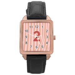 Number 2 Line Vertical Red Pink Wave Chevron Rose Gold Leather Watch  by Mariart