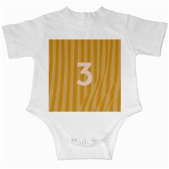 Number 3 Line Vertical Yellow Pink Orange Wave Chevron Infant Creepers by Mariart