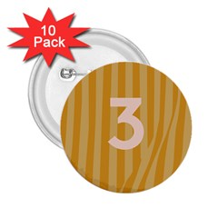 Number 3 Line Vertical Yellow Pink Orange Wave Chevron 2 25  Buttons (10 Pack)