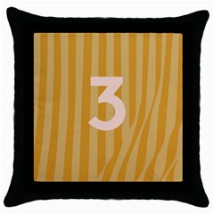 Number 3 Line Vertical Yellow Pink Orange Wave Chevron Throw Pillow Case (black) by Mariart