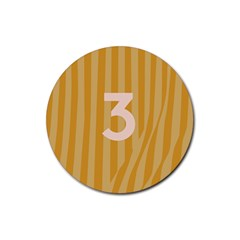 Number 3 Line Vertical Yellow Pink Orange Wave Chevron Rubber Coaster (round)  by Mariart