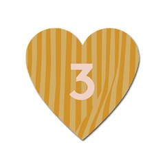Number 3 Line Vertical Yellow Pink Orange Wave Chevron Heart Magnet by Mariart