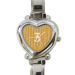 Number 3 Line Vertical Yellow Pink Orange Wave Chevron Heart Italian Charm Watch by Mariart