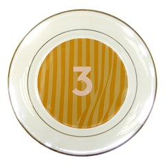 Number 3 Line Vertical Yellow Pink Orange Wave Chevron Porcelain Plates by Mariart