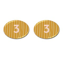 Number 3 Line Vertical Yellow Pink Orange Wave Chevron Cufflinks (oval) by Mariart