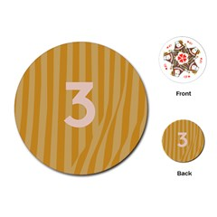Number 3 Line Vertical Yellow Pink Orange Wave Chevron Playing Cards (round)  by Mariart