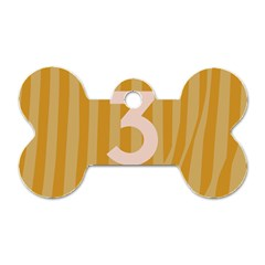 Number 3 Line Vertical Yellow Pink Orange Wave Chevron Dog Tag Bone (two Sides) by Mariart