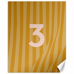 Number 3 Line Vertical Yellow Pink Orange Wave Chevron Canvas 11  X 14   by Mariart