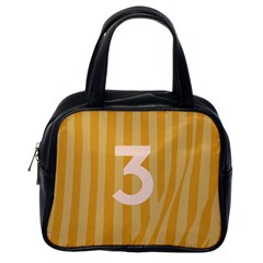 Number 3 Line Vertical Yellow Pink Orange Wave Chevron Classic Handbags (one Side) by Mariart