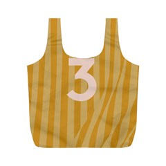 Number 3 Line Vertical Yellow Pink Orange Wave Chevron Full Print Recycle Bags (m)  by Mariart