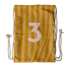 Number 3 Line Vertical Yellow Pink Orange Wave Chevron Drawstring Bag (large) by Mariart