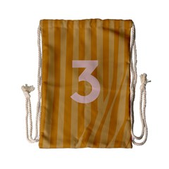 Number 3 Line Vertical Yellow Pink Orange Wave Chevron Drawstring Bag (small) by Mariart