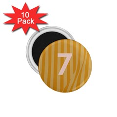 Number 7 Line Vertical Yellow Pink Orange Wave Chevron 1 75  Magnets (10 Pack)