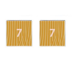 Number 7 Line Vertical Yellow Pink Orange Wave Chevron Cufflinks (square) by Mariart