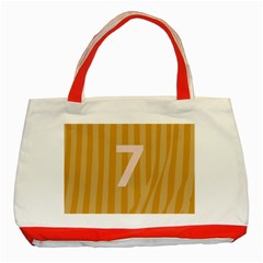 Number 7 Line Vertical Yellow Pink Orange Wave Chevron Classic Tote Bag (red)