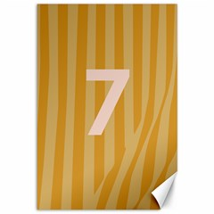 Number 7 Line Vertical Yellow Pink Orange Wave Chevron Canvas 12  X 18   by Mariart