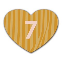 Number 7 Line Vertical Yellow Pink Orange Wave Chevron Heart Mousepads by Mariart