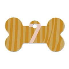 Number 7 Line Vertical Yellow Pink Orange Wave Chevron Dog Tag Bone (one Side) by Mariart
