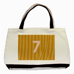 Number 7 Line Vertical Yellow Pink Orange Wave Chevron Basic Tote Bag (two Sides) by Mariart
