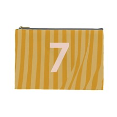 Number 7 Line Vertical Yellow Pink Orange Wave Chevron Cosmetic Bag (large)  by Mariart