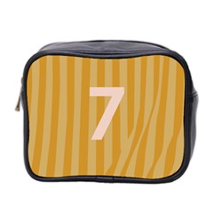 Number 7 Line Vertical Yellow Pink Orange Wave Chevron Mini Toiletries Bag 2 Side by Mariart