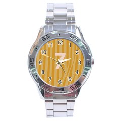 Number 7 Line Vertical Yellow Pink Orange Wave Chevron Stainless Steel Analogue Watch by Mariart