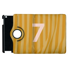 Number 7 Line Vertical Yellow Pink Orange Wave Chevron Apple Ipad 3/4 Flip 360 Case by Mariart