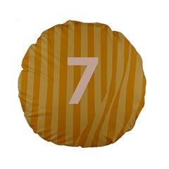 Number 7 Line Vertical Yellow Pink Orange Wave Chevron Standard 15  Premium Round Cushions by Mariart