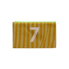 Number 7 Line Vertical Yellow Pink Orange Wave Chevron Cosmetic Bag (xs) by Mariart