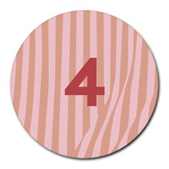 Number 4 Line Vertical Red Pink Wave Chevron Round Mousepads