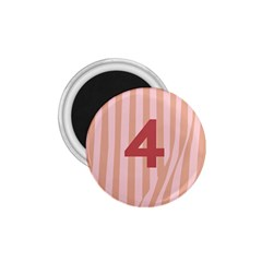 Number 4 Line Vertical Red Pink Wave Chevron 1 75  Magnets by Mariart