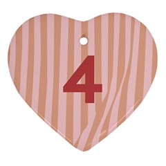 Number 4 Line Vertical Red Pink Wave Chevron Ornament (heart) by Mariart