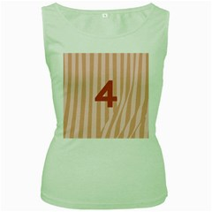 Number 4 Line Vertical Red Pink Wave Chevron Women s Green Tank Top by Mariart