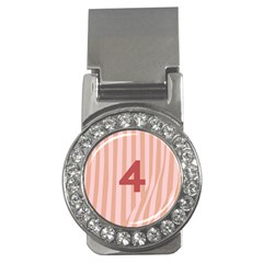 Number 4 Line Vertical Red Pink Wave Chevron Money Clips (cz)  by Mariart