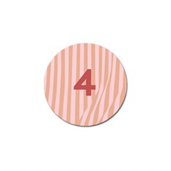 Number 4 Line Vertical Red Pink Wave Chevron Golf Ball Marker (4 Pack) by Mariart