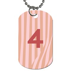 Number 4 Line Vertical Red Pink Wave Chevron Dog Tag (two Sides) by Mariart
