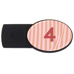 Number 4 Line Vertical Red Pink Wave Chevron Usb Flash Drive Oval (2 Gb) by Mariart